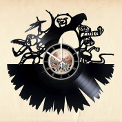 Comedy Film Vinyl Record Wall Clock - Nursery wall decor - Gift ideas for children, teens, brother and sister - Animation Cartoon Unique Art Design