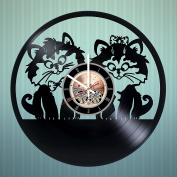 Two Cats Vinyl Record Wall Clock - Nursery room or Kids Room wall decor - Gift ideas for baby, sister and brother, kids - Funny Unique Art Design