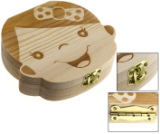 Girl Image Milk Teeth Wooden Tooth Storage Box Small Kids Childs Baby Save