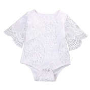 Gracefulvara Infant Baby Girl Lace Floral One-pieces Bodysuit Outfits