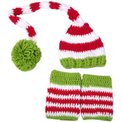 AiXiAng Baby Newborn Infant Crochet Knitted Costume Baby Christmas Caps with Long Tail Ball and Socks