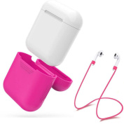 Soft Silicone Protective Cover Case + Wire Anti Lost For Apple AirPods Earphones,Tuscom