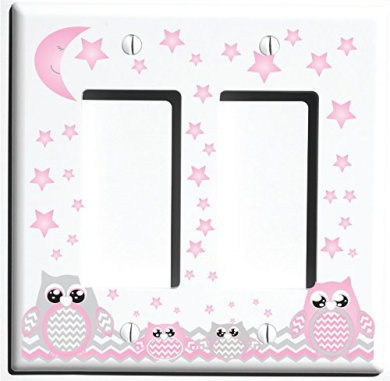 Double Rocker Grey and Pink Owl Light Switch Plate Covers and Outlet Covers / Owl Nursery Decor (Double Rocker Owl)