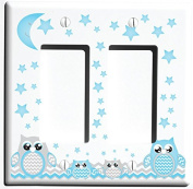 Grey and Blue Double Rocker Owl Light Switch Plate and Owl Outlet Covers / Owl Nursery Decor