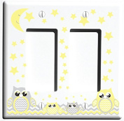 Double Rocker Grey and Yellow Owl Light Switch Plate and Outlet Cover / Owl Nursery Decor