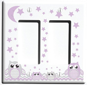 Double Rocker Grey and Purple Owl Light Switch Plate Covers and Outlet Covers / Owl Nursery Decor