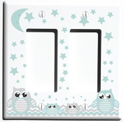 Double Rocker Grey and Seafoam Green Owl Light Switch Plate Covers and Outlet Covers / Owl Nursery Decor