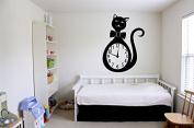 Wall Vinyl Sticker Decals Mural Room Design Decor Art Cat Time Clock Watch Nursery Bow Animal Pet mi224