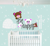 Leaves Home And Bears - Baby Girl - Wall Decal Nursery For Home Bedroom Children (746)