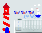 Lighthouse Ship Clouds Birds And Waves - Nautical Theme - Baby Boy - Wall Decal Nursery For Home Bedroom Children (745)