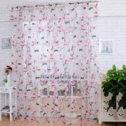 """LADEY One Piece Pink Beige Sheer Window Voile Curtain""""100cm ×""""200cm"""