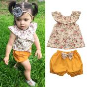 Baby Girls' Pant Sets,FEITONG Toddler Kids Girl Floral Sleeveless Tops+Bow Shorts Pants Set