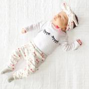 Girls' Clothing Sets, FEITONG 3Pcs Toddler Infant Baby Girl Eyelash T-shirt Tops+Pants+Headband