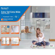 Perma Child Safety Superior & Wide Swing Gate, White, Extra Tall/Large