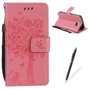 Samsung Galaxy A5(2017)/A520 Case,MAGQI Embossed Tree Cat Butterfly Flower Pattern Design [Stylus Pen] for Samsung Galaxy A5(2017)/A520 Cover,Elegant PU leather folio Wallet Case [Magnetic Closure] Fexible Soft Silicone Inner Rubber Stand Function Cred ..