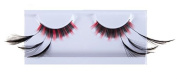 P 'tit clown – 10043 – Self Adhesive – Effect False Eyelashes – Feather – Pair – One Size – Black/Red