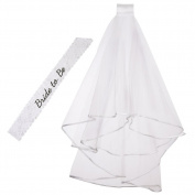 Veewon 2 x Bride to Be Sash White Lace Sash Embroidered Sash and Bridal Wedding Veil with Comb Wedding and Bachelorette Party Accessory Kit