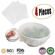 DPWELL 4PCS Food Wrappers Reusable Silicone Lids Food Covers Eco-friendly Silicone Food Fresh-Keeping Preservative Film