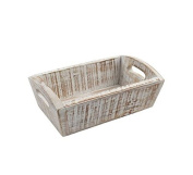 T & G Woodware Acacia Wood Nordic Deep Tray in White