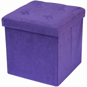 Sorbus Faux Suede Storage Ottoman Cube–Foldable/ Collapsible with Button Lid Cover–Perfect Hassock, Foot Stool, Storage Chest, and more