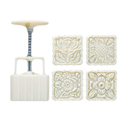 125G Square Shape Moon Cake Mould 4 Stamps Cake Mould Cookie Mould