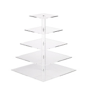 YestBuy 5 Tier Square Wedding Party Acrylic Cake Cupcake Tree Tower Maypole Display Stand 1 pc /Pack
