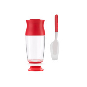 Lekue Crepe/ Pancake Batter Kit Set includes Batter Shaker, Spatula & Recipe Booklet, Clear