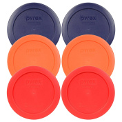 Pyrex 7200-PC 2 Cup (2) Blue (2) Orange (2) Red Round Plastic Lids - 6 Pack