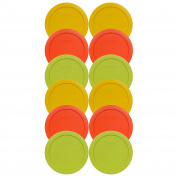 Pyrex 7201-PC Round 4 Cup Storage Container Lids - (4) Butter Yellow, (4) Pumpkin Orange and (4) Edamame Green
