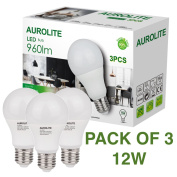 PACK OF 3 12W AUROLITE LED Bulbs, A60 12W E27 Warm White 3000K, Pack of 3, LED ES Globe Edison Screw Bulb, Ultra Bright 960LM, 75Watt Incandescent Bulbs Equivalent, 2 Years UK Warranty