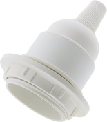 Edison Screw Bulb Holder in White for Lamp or Pendant Use supplied with Shade Ring and Flex Grip