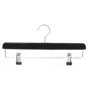 Wooden trouser/skirt Hanger with deluxe black finish.36cm wide with adjustable chrome clips from Caraselle