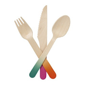 Talking Tables Tropical Fiesta Wooden Cutlery with 6-Settings