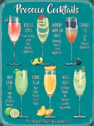 PROSECCO COCKTAILS VINTAGE STYLE METAL WALL SIGN TIN PLAQUE SHABBY CHIC KITCHEN PICTURE RETRO DECOR