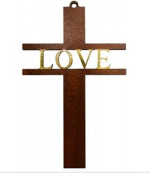 Wood Cross With the Wording Love in Gold INCLUDES A LOURDES PRAYER CARD