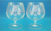 Pair of Bohemia Crystal Brandy Glasses With Scottish Thistle Design