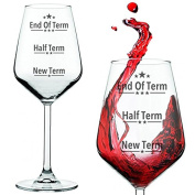 End of Term Teacher's Wine Glass Red / White Funny Teachers Gift Presented In A Gift Tube