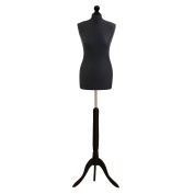 Female Tailors Dummy Black Size 6/8 Dressmakers Fashion Students Mannequin Display Bust With A Black Wood Base