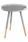 Premier Housewares Viborg Round Side Table, Wood, 49 x 40 x 40 cm - Grey