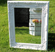 Antique Style Shabby Chic White with Gold Brush Bevelled Glass Wall Mirror by Vintage Collection
