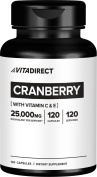 VitaDirect Cranberry Extract – 25,000mg Raw Cranberry Equivalent in 1 Pill! – 120 Capsules