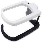 Fancii LED Illuminated Hands Free Magnifying Glass With Stand & Lanyard - 2.5X Rectangle Lens Folding Lighted Magnifier For Reading, Inspection, Repair, Needlework, Hobby And Craft