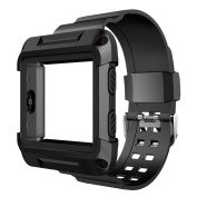 Fitbit Blaze Bands, Simpeak Protective Frame Case with Resilient Strap Replacement Bands for Fitbit Blaze Smart Fitness Watch, Black