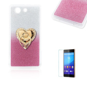 Sony Xperia Z3 Mini/Compact Case [with Free Screen Protector], Funyye Soft Silicone Gel TPU Ultra Thin Slim Glitter Pink Gradual Colour Changing With Love Hearts Ring Holder Protective Rubber Bumper Case Cover Shell for Sony Xperia Z3 Mini/Compact