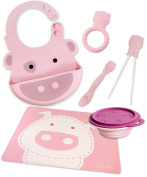 Marcus & Marcus Pokey the Piglet Silicone Baby Bib, Collapsible Bowl, Feeding Spoon, Chopsticks, Teether & Placemat