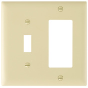 Pass & Seymour TP126ICC12 Trade Master Nylon Combination Openings Wall Plate with One Toggle Switch and One Decorator Opening, Two Gang, Ivory