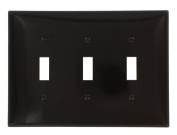Leviton PJ3 3-Gang Toggle Switch Wallplate, Midway Size, Brown
