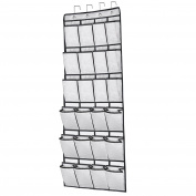 24 Large Pockets Hanging Over the Door Shoe Organisers with 4 Steel Over the Door Hooks