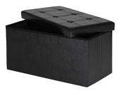Storage Bench ,Foldable Storage Bench , Faux leather and Thickening Sponge for Livingroom 80cm Black