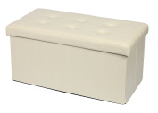 Storage Ottoman Foldable Storage Bench Faux leather and Thickening Sponge for Livingroom 80cm Beige